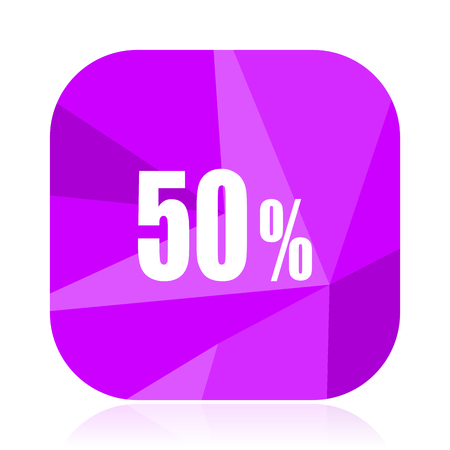 50 percent violet square vector web icon. Internet design and webdesign button. Mobile application sign on white background.