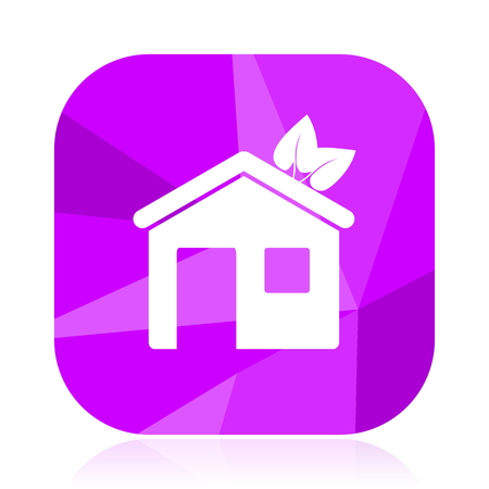 House violet square vector web icon. Internet design and webdesign button. Mobile application sign on white background.