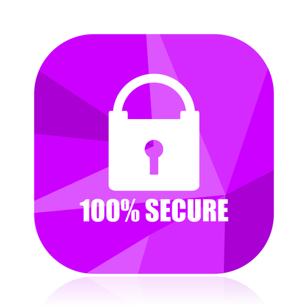 Secure violet square vector web icon. Internet design and webdesign button. Mobile application sign on white background. Illustration