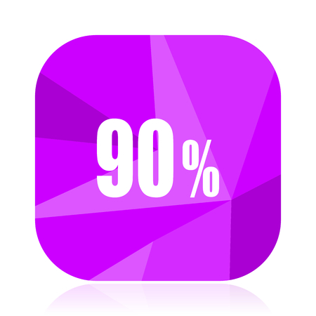 90 percent violet square vector web icon. Internet design and webdesign button. Mobile application sign on white background.
