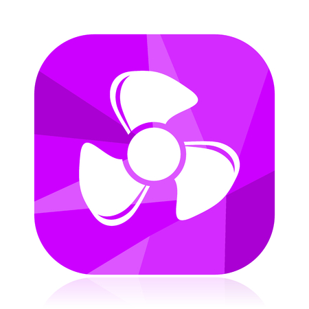 Fan violet square vector web icon. Internet design and webdesign button. Mobile application sign on white background. Illustration