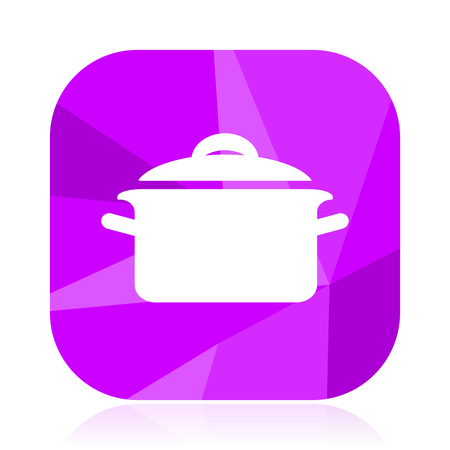 Cook violet square vector web icon. Internet design and webdesign button. Mobile application sign on white background.