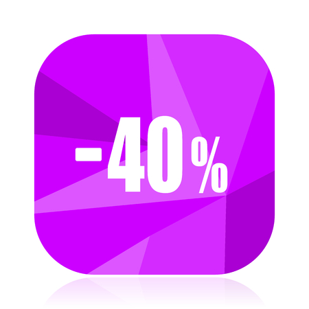 40 percent sale retail violet square vector web icon. Internet design and webdesign button. Mobile application sign on white background.