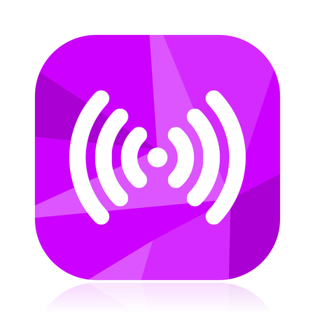Wifi violet square vector web icon. Internet design and webdesign button. Mobile application sign on white background. 일러스트