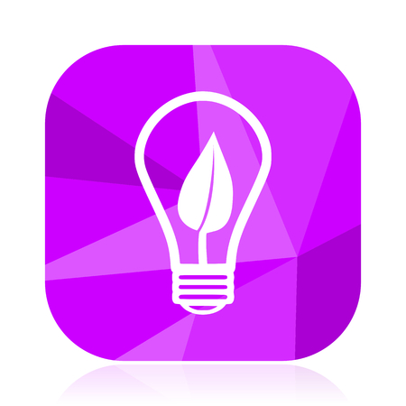 Green energy light bulb violet square vector web icon. Internet design and webdesign button. Mobile application sign on white background. Illustration