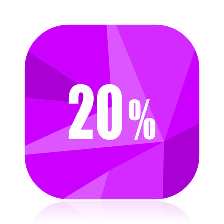20 percent violet square vector web icon. Internet design and webdesign button. Mobile application sign on white background.