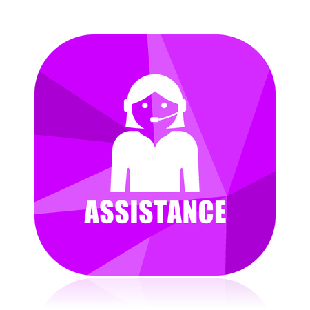 Assistance violet square vector web icon. Internet design and webdesign button. Mobile application sign on white background.