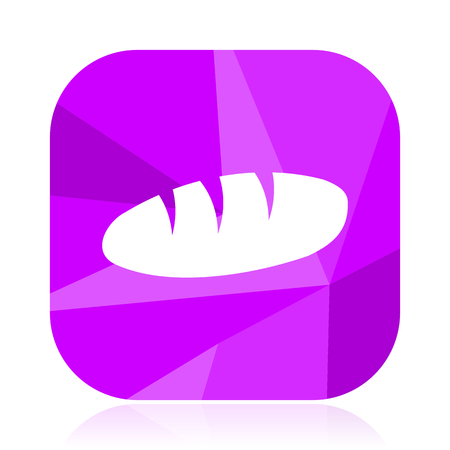 Bread violet square vector web icon. Internet design and webdesign button. Mobile application sign on white background.