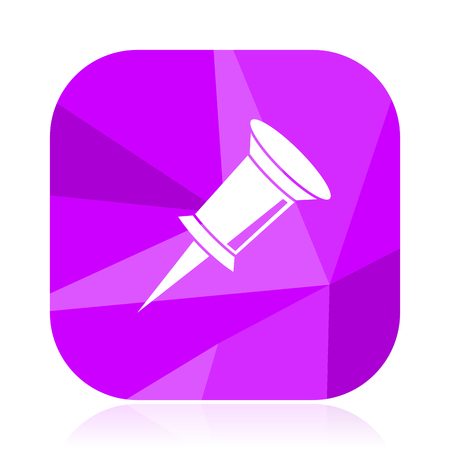 Pin violet square vector web icon. Internet design and webdesign button. Mobile application sign on white background.