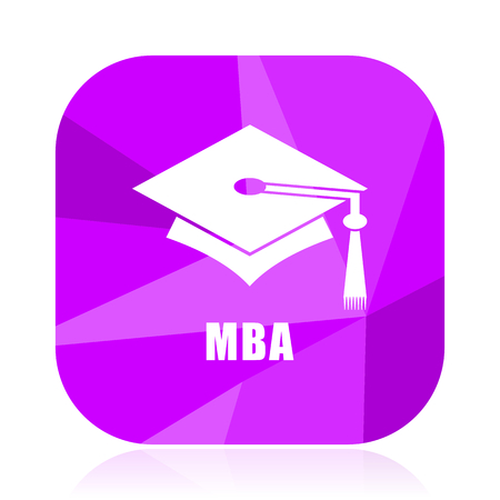 Mba violet square vector web icon. Internet design and webdesign button. Mobile application sign on white background. Illustration