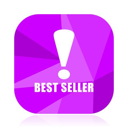 Best seller violet square vector web icon. Internet design and webdesign button. Mobile application sign on white background. Illustration