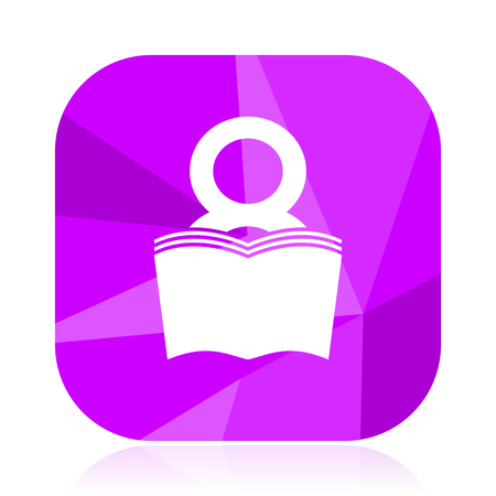 Book violet square vector web icon. Internet design and webdesign button. Mobile application sign on white background.