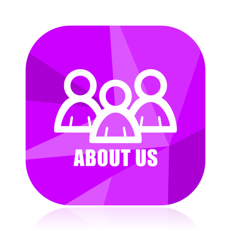 About us violet square vector web icon. Internet design and webdesign button. Mobile application sign on white background.