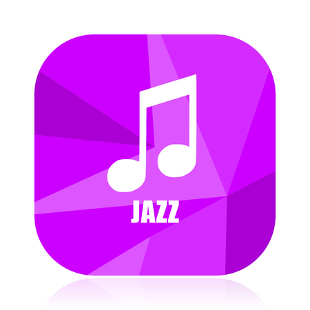 Jazz music violet square vector web icon. Internet design and webdesign button. Mobile application sign on white background.