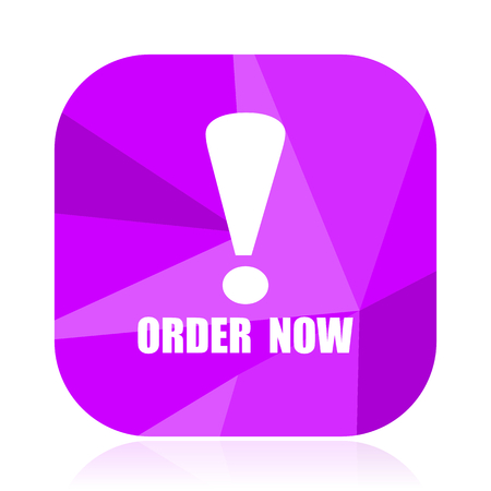 Order now violet square vector web icon. Internet design and webdesign button. Mobile application sign on white background. Illustration