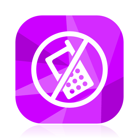 No phone violet square vector web icon. Internet design and webdesign button. Mobile application sign on white background.