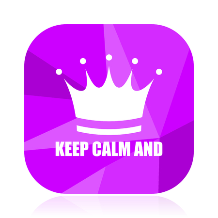 Keep calm and violet square vector web icon. Internet design and webdesign button. Mobile application sign on white background.