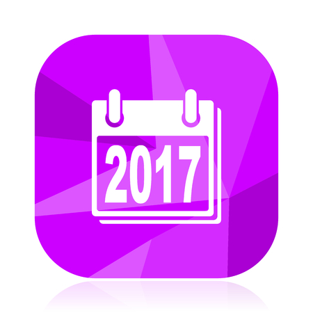 New year 2017 violet square vector web icon. Internet design and webdesign button. Mobile application sign on white background.