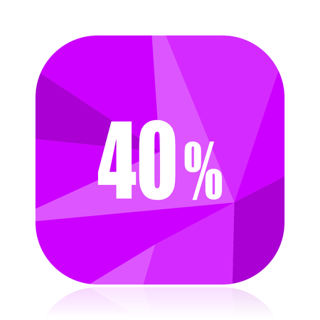 40 percent violet square vector web icon. Internet design and webdesign button. Mobile application sign on white background. Illustration