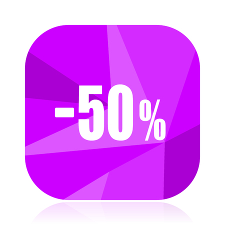 50 percent sale retail violet square vector web icon. Internet design and webdesign button. Mobile application sign on white background.