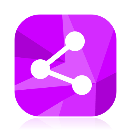 Share violet square vector web icon. Internet design and webdesign button. Mobile application sign on white background.
