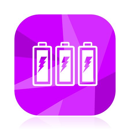 Battery violet square vector web icon. Internet design and webdesign button. Mobile application sign on white background.