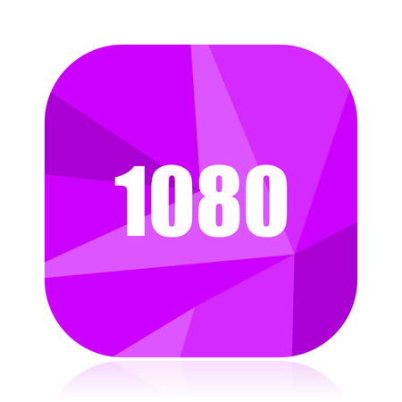 1080 violet square vector web icon. Internet design and webdesign button. Mobile application sign on white background.