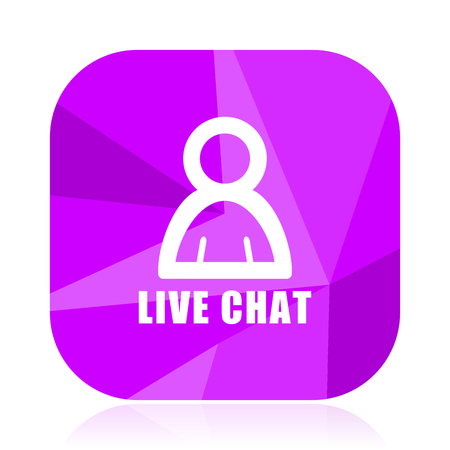 Live chat violet square vector web icon. Internet design and webdesign button. Mobile application sign on white background. Vector Illustratie