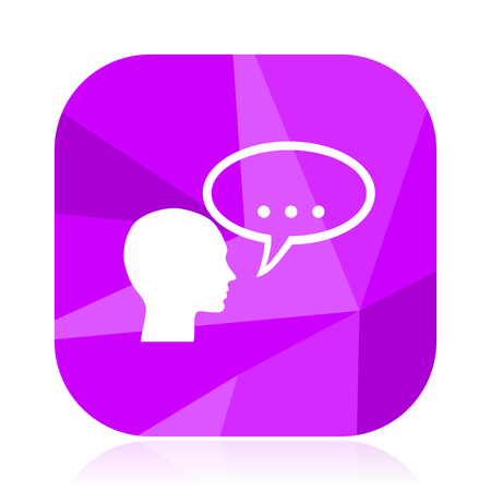 Forum violet square vector web icon. Internet design and webdesign button. Mobile application sign on white background. Illustration