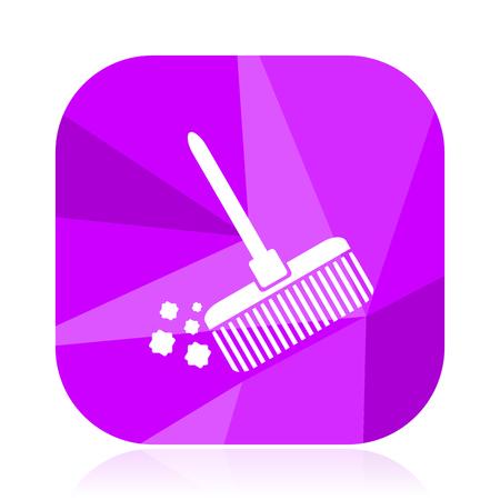 Broom violet square vector web icon. Internet design and webdesign button. Mobile application sign on white background. Illustration