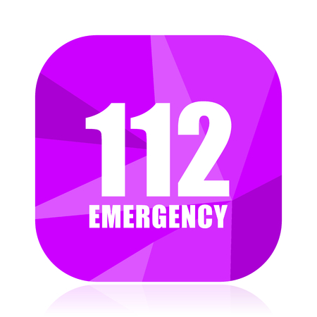 Number emergency 112 violet square vector web icon. Internet design and webdesign button. Mobile application sign on white background.