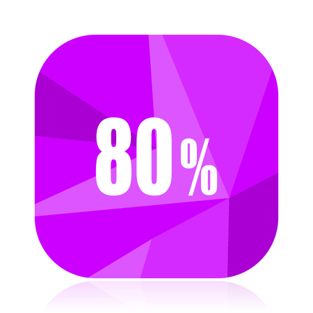 80 percent violet square vector web icon. Internet design and webdesign button. Mobile application sign on white background.