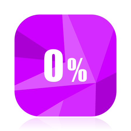 0 percent violet square vector web icon. Internet design and webdesign button. Mobile application sign on white background.
