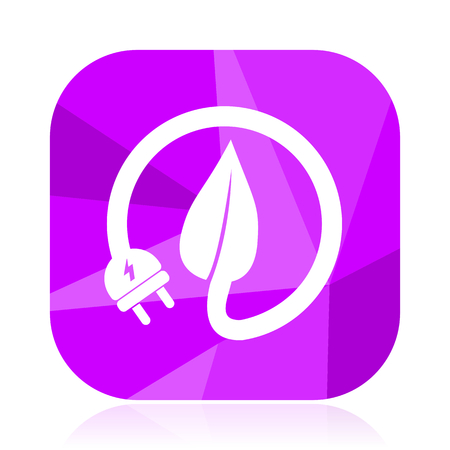 Eco electric plug violet square vector web icon. Internet design and webdesign button. Mobile application sign on white background.
