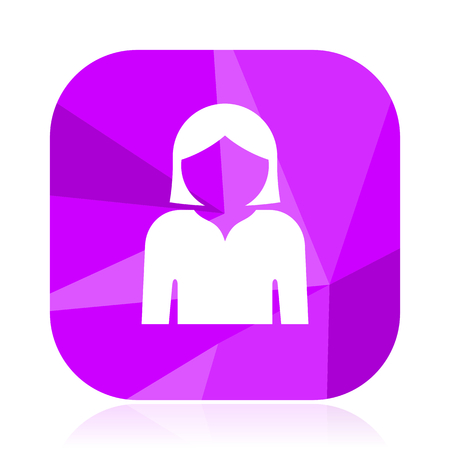 Profile avatar violet square vector web icon. Internet design and webdesign button. Mobile application sign on white background.