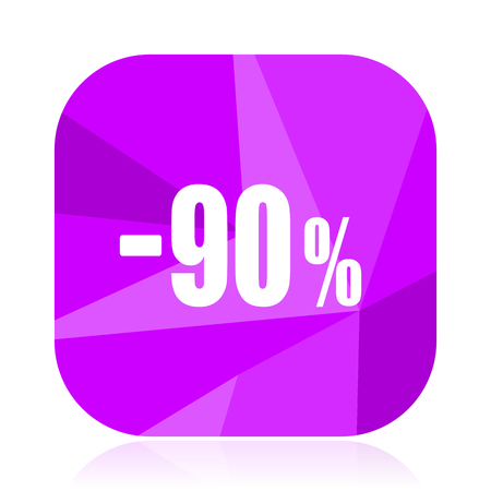 90 percent sale retail violet square vector web icon. Internet design and webdesign button. Mobile application sign on white background.
