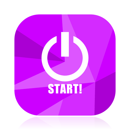 Start violet square vector web icon. Internet design and webdesign button. Mobile application sign on white background.