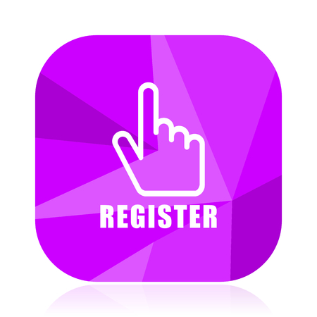 Register violet square vector web icon. Internet design and webdesign button in eps 10. Mobile application sign on white background. Stock Photo