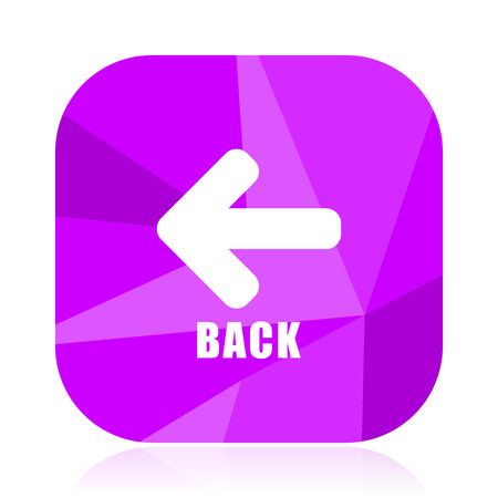 Back violet square vector web icon. Internet design and webdesign button in eps 10. Mobile application sign on white background. Stock Photo