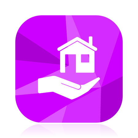 House care violet square vector web icon. Internet design and webdesign button in eps 10. Mobile application sign on white background.