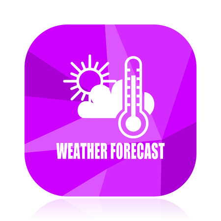 Weather forecast violet square vector web icon. Internet design and webdesign button in eps 10. Mobile application sign on white background.