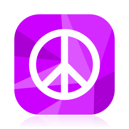 Peace violet square vector web icon. Mobile application sign on white background.