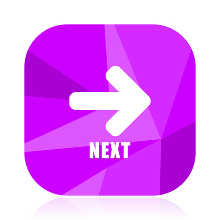 Next violet square vector web icon. Internet design and webdesign button. Mobile application sign on white background.