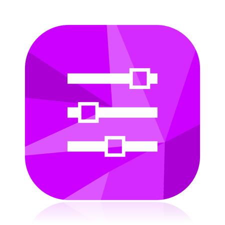 Slider violet square vector web icon. Internet design and webdesign button. Mobile application sign on white background.