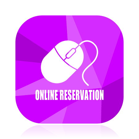 Online reservation violet square vector web icon. Internet design and webdesign button. Mobile application sign on white background.