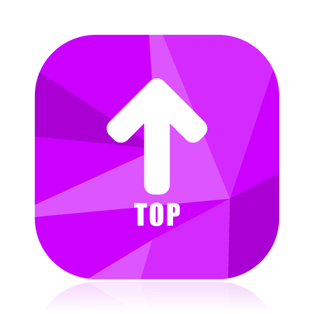 Top violet square vector web icon. Internet design and webdesign button. Mobile application sign on white background.