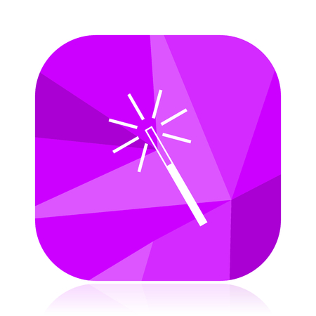 Magic wand violet square vector web icon. Internet design and webdesign button. Mobile application sign on white background. Stock Photo
