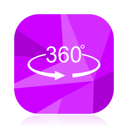 Panorama 360 violet square vector web icon. Mobile application sign on white background.