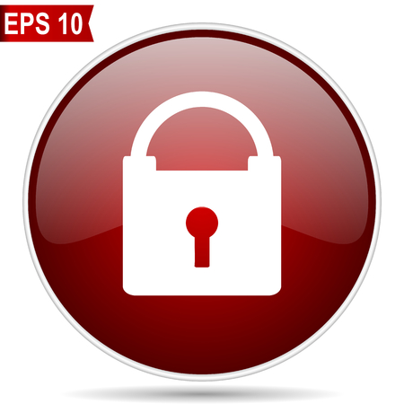 Padlock cherry red glossy round web vector icon. Editable simple circle modern design internet button on white background. Illustration