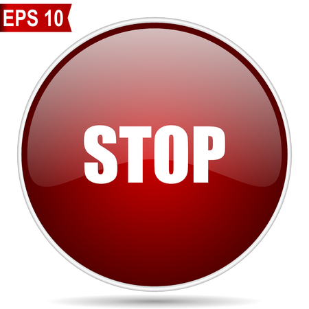 Stop cherry red glossy round web vector icon. Editable simple circle modern design internet button on white background.